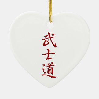 Rojo del KANJI de BUSHIDO Adorno De Cerámica En Forma De Corazón