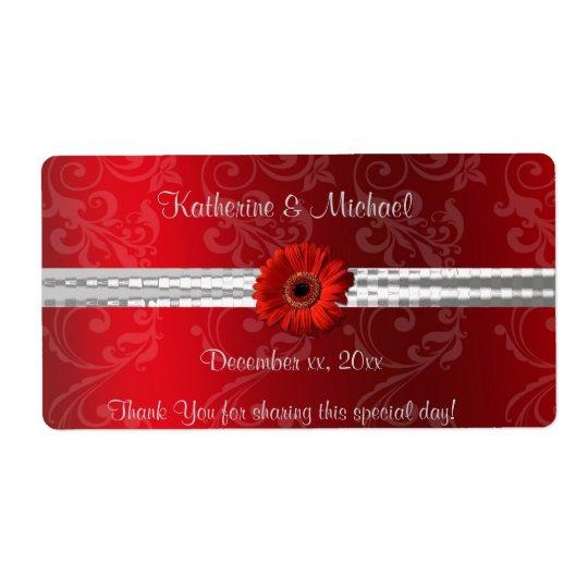 Rojo del navidad, etiqueta del vino del boda del