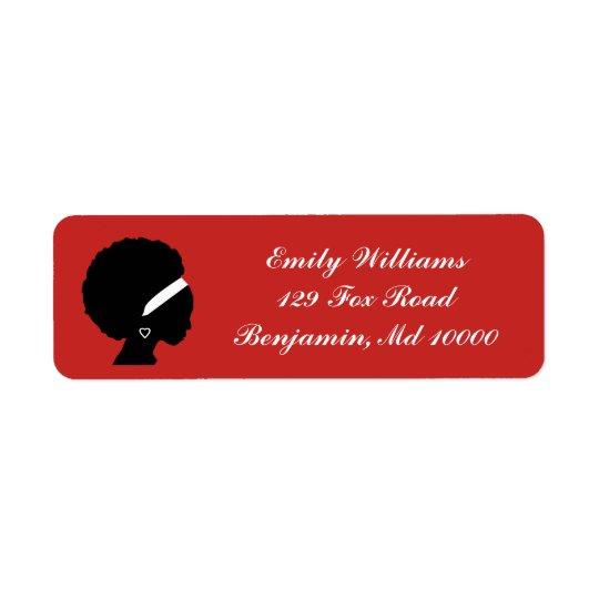 Rojo del pelo del Afro Etiquetas De Remite