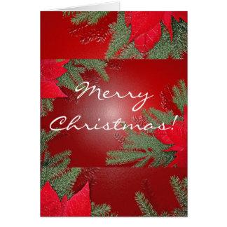Rojo del Poinsettia del navidad en inglés Tarjeta De Felicitación