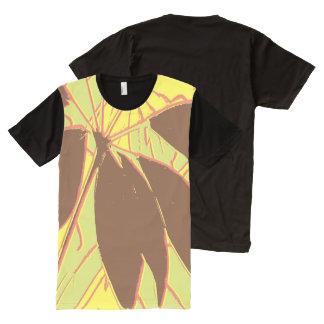 Rojo del verde amarillo de la planta de la casa camiseta con estampado integral