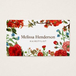 Rojo del vintage y blanco florales tarjeta de visita