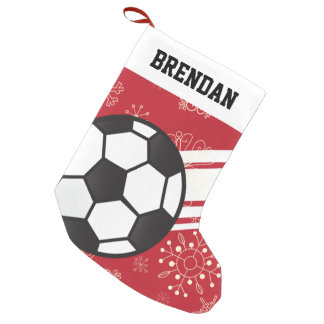 Rojo deportivo personalizado del balón de fútbol calcetín de navidad pequeño