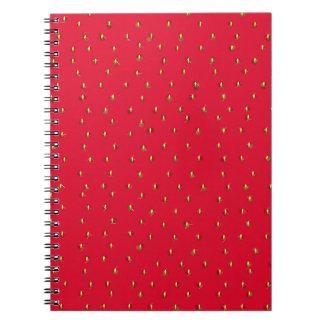 Rojo divertido del fondo de la fresa cuaderno