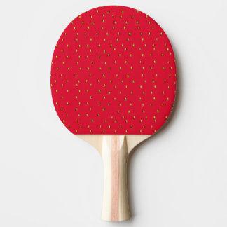 Rojo divertido del fondo de la fresa pala de ping pong