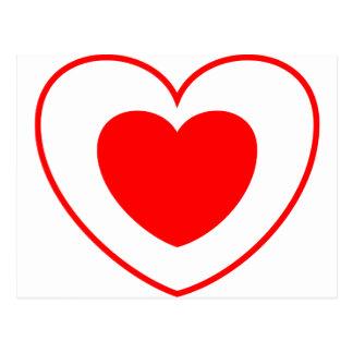Rojo doble del corazón postal