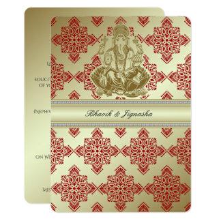 Rojo e invitación india del boda del damasco del