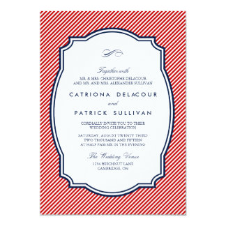 Rojo e invitación náutica rayada del boda de la