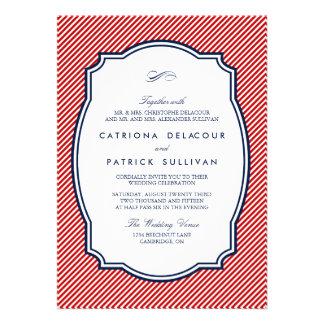Rojo e invitación náutica rayada del boda de la ma