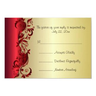 Rojo elegante de RSVP y diseño florido del boda Invitación 8,9 X 12,7 Cm