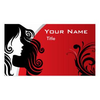 Rojo elegante del estilista el | de la mujer de la tarjetas de visita