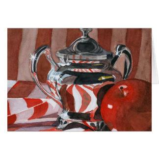 Rojo en las reflexiones de plata tarjeta de felicitación