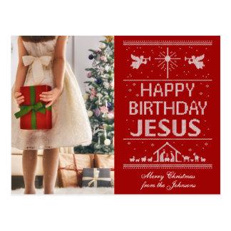 Rojo feo de Jesús del feliz cumpleaños del suéter Postal