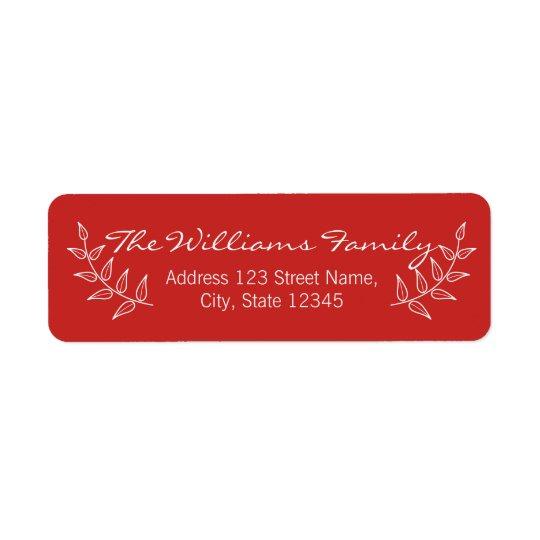 Rojo festivo con los laureles blancos etiquetas de remite