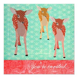 Rojo festivo de la turquesa de los amigos del invitación 13,3 cm x 13,3cm