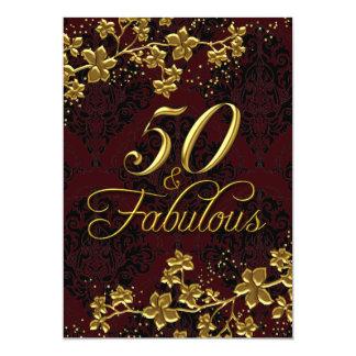 Rojo floral 50 del oro y invitación fabulosa del