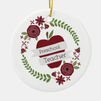 Rojo floral Apple de la guirnalda del profesor Adorno Redondo De Cerámica