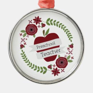 Rojo floral Apple de la guirnalda del profesor Adorno Redondo Plateado