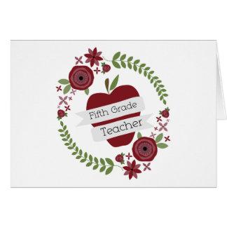Rojo floral Apple de la guirnalda del quinto profe Tarjetas