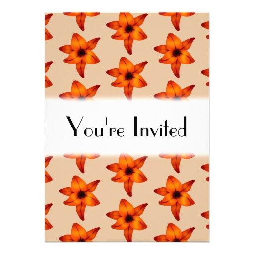Rojo - flores anaranjadas del lirio, en color del  anuncio personalizado