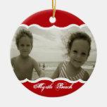 Rojo gemelo de la foto ornamento de navidad