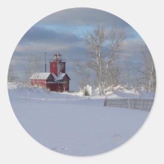 Rojo grande en pegatina del invierno