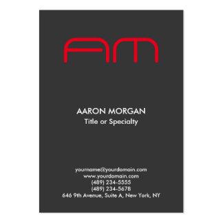 Rojo gris del monograma moderno vertical de moda tarjetas de visita grandes
