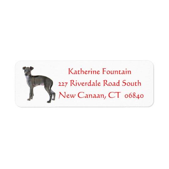 Rojo gris del perro de perrito del galgo italiano etiquetas de remite