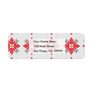 Rojo hawaiano del edredón de la flor del estilo etiqueta de remite