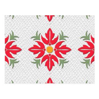 Rojo hawaiano del edredón de la flor del estilo postal