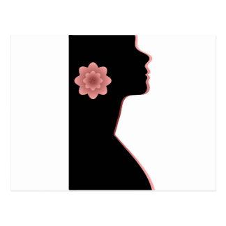 Rojo hermoso del negro de la mujer de la silueta postal
