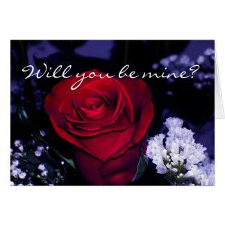 ¿Rojo hermoso Rosa-usted será el mío? Tarjeta De Felicitación