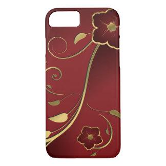 Rojo hermoso y bella arte floral del oro funda para iPhone 8/7