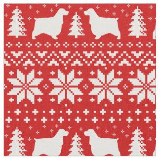 Rojo inglés del modelo del navidad de los perros tela