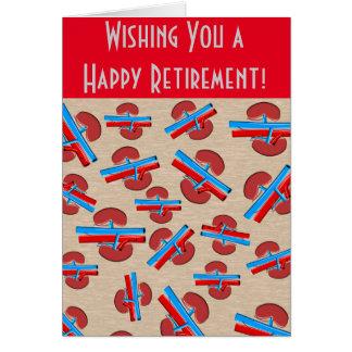 Rojo jubilado de la tarjeta de felicitación del