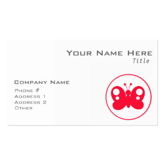 Rojo lindo Buttefly del escarlata Tarjeta De Negocio