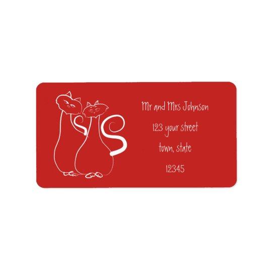 Rojo Minimalistic de los gatos de la etiqueta de Etiqueta De Dirección
