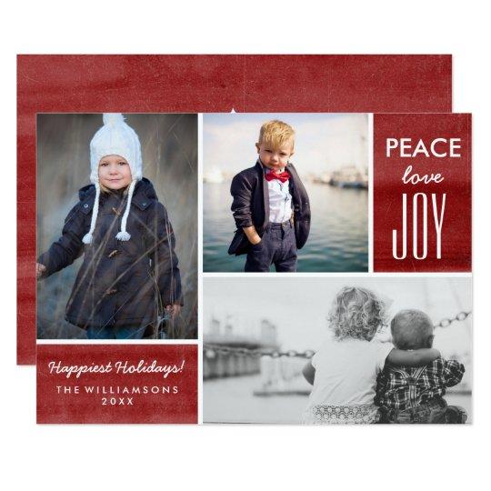 Rojo moderno de la alegría del amor de la paz del invitación 12,7 x 17,8 cm
