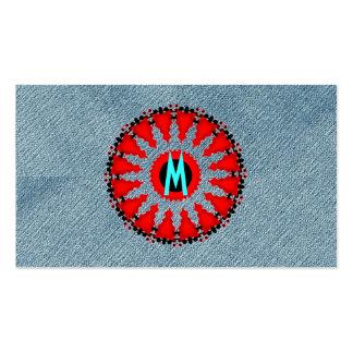 Rojo moderno del art déco del monograma del dril tarjetas de visita