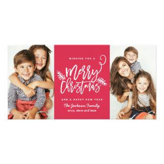 Rojo moderno del día de fiesta 2-Photo del navidad Tarjeta Personal Con Foto