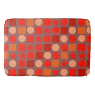 Rojo-Naranja geométrico en la estera de baño