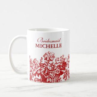 Rojo nupcial de la cesta floral del favor de la du taza básica blanca