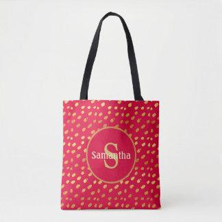 Rojo personalizado del monograma y la bolsa de
