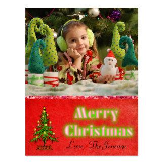 Rojo personalizado postal del árbol de navidad