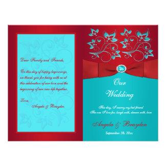 Rojo, programa floral del boda de la turquesa