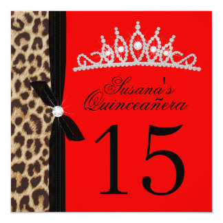 rojo Quinceanera del leopardo Invitación 13,3 Cm X 13,3cm