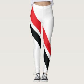 Rojo/rayas negras en las polainas blancas 1 leggings