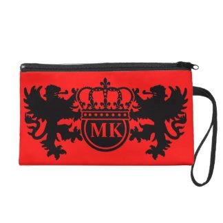 Rojo real del monograma del león bolso de fiesta