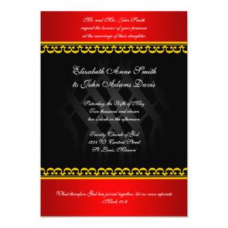 Rojo real en la invitación negra del boda