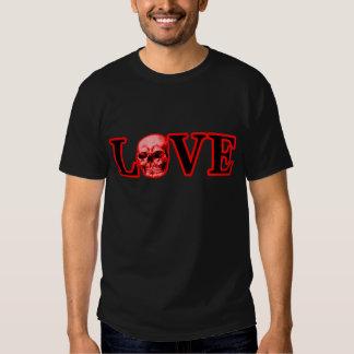 Rojo rojo del cráneo del amor los regalos de camisetas